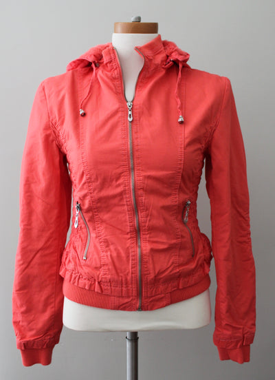 Downtown Coalition LA Warm Spring hot coral twill jacket