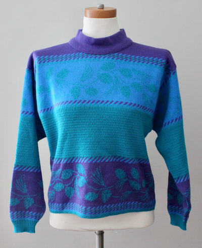 DEMETRE Cool Winter vintage blue purple aqua ski sweater