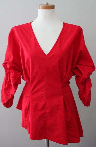 KENTARO for PROJECT RUNWAY Bright Winter red blouse.