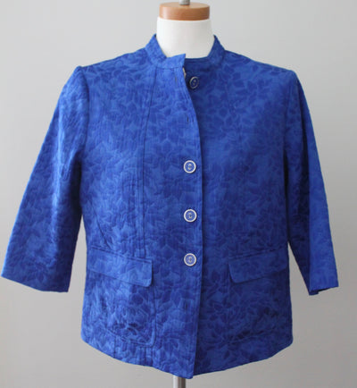 REBECCA MALONE Bright Winter blue jacquard jacket