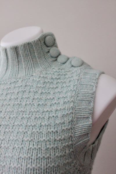 EMS button Soft Summer sleeveless dusty sage turtleneck sweater detail