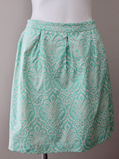 GARNET HILL Light Spring minty green print skirt