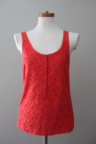J CREW Bright Spring orange red lace top