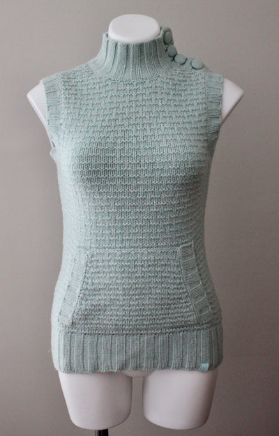 EMS button Soft Summer sleeveless dusty sage turtleneck sweater