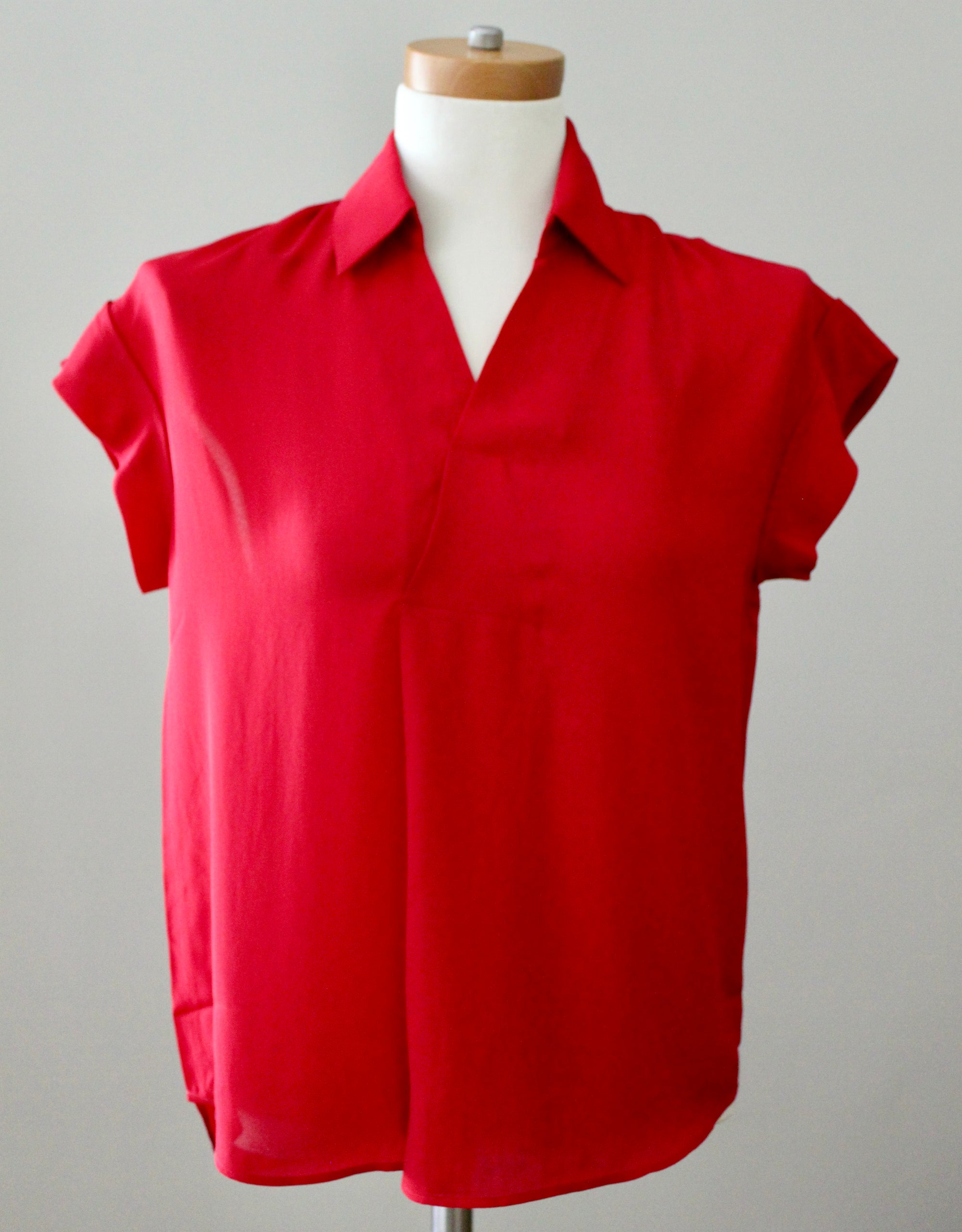 EVERLEIGH Dark Winter Red Collared Blouse