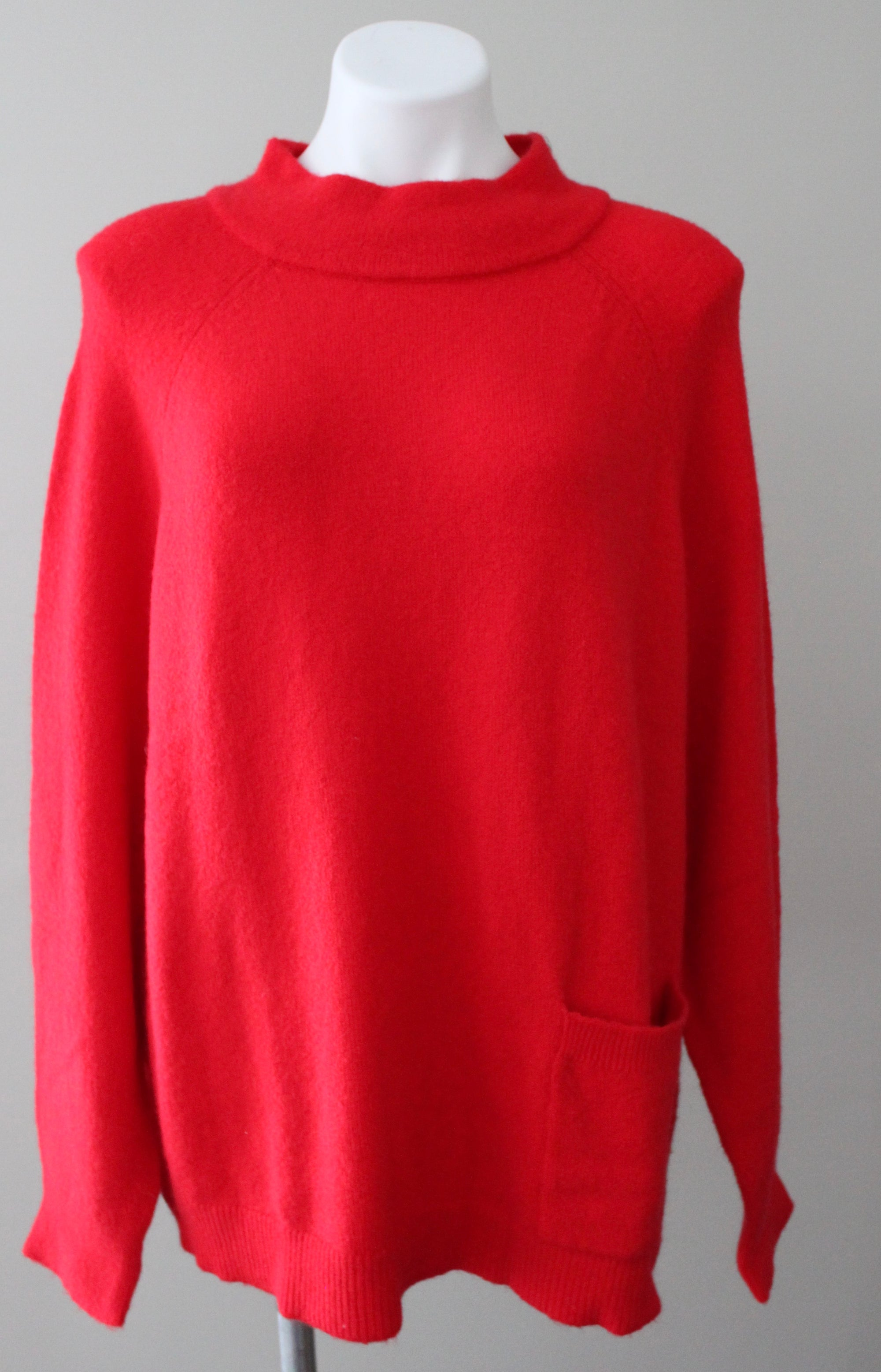 Bright Winter HALOGEN red chinoise pocket sweater