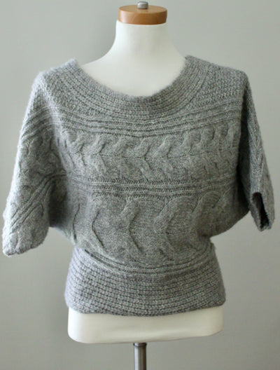 FREE PEOPLE Soft Summer gray cable knit sweater