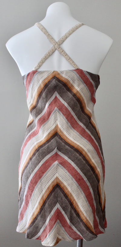 Warm Autumn Linen Chevron Dress
