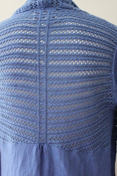 SMALL SKIES ARE BLUE Cool Summer blue cardigan sweater back view