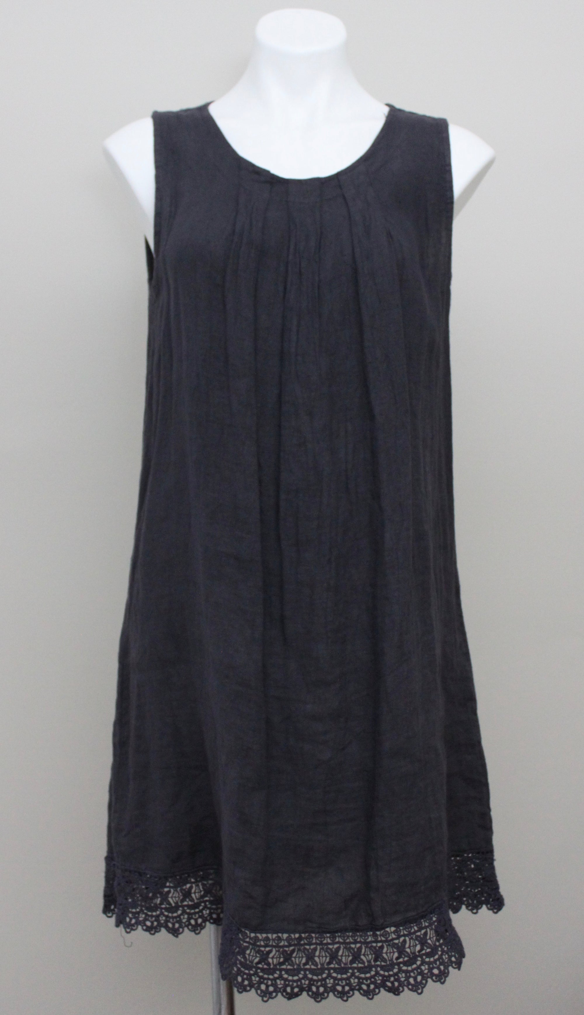 ROSEMARINE ITALY slate gray linen dress crochet hem