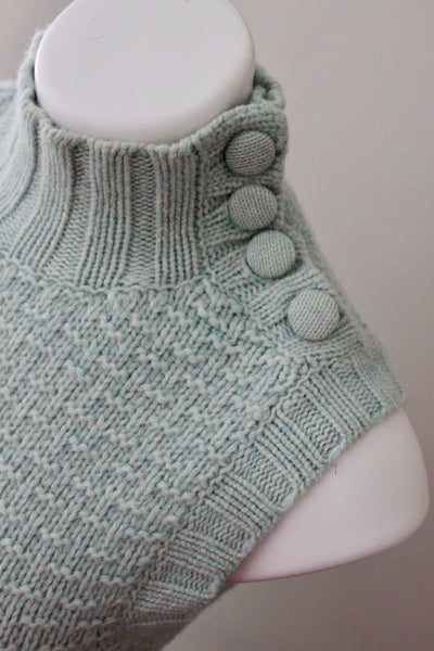 EMS button Soft Summer sleeveless dusty sage turtleneck sweaterdetail