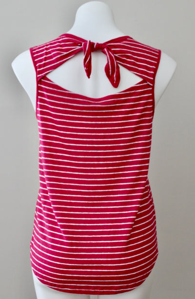 OLD NAVY light summer raspberry stripe tie-back top