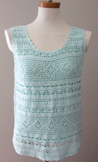 BLOOMINGDALES Bright Winter icy blue crochet top