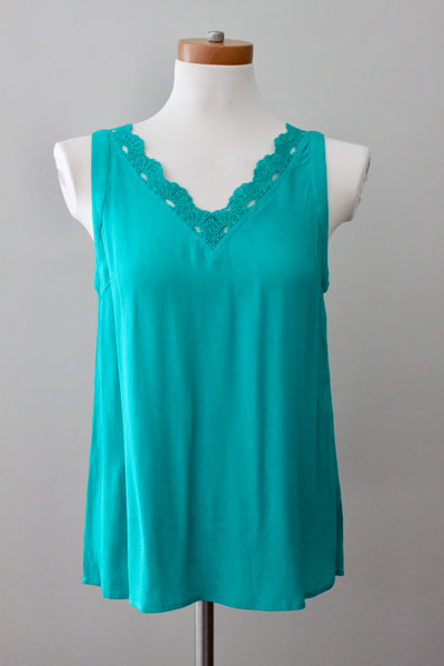 SMALL SKIES ARE BLUE for STITCH FIX Bright Winter teal green lace trim blouse.