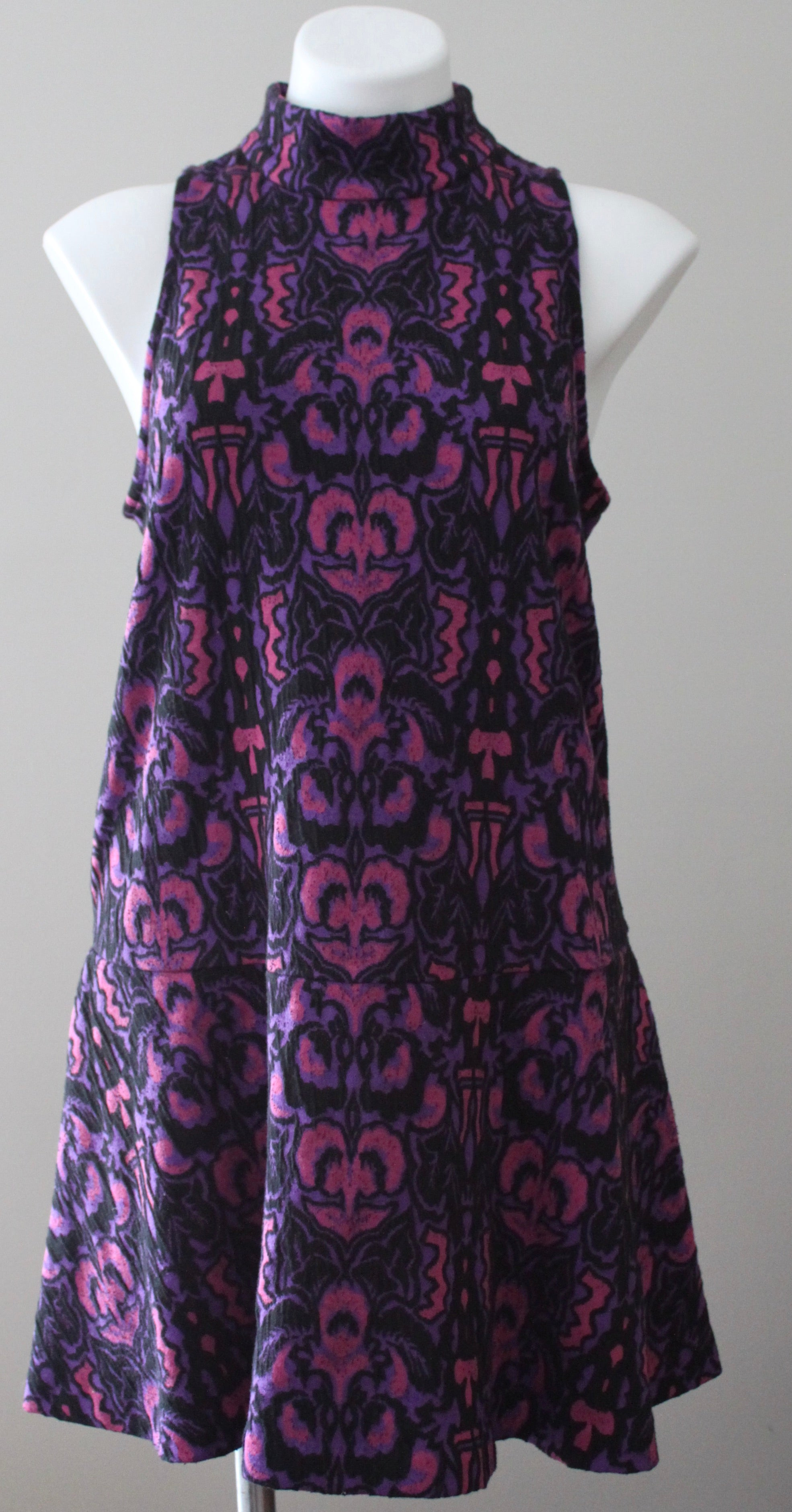 FREE PEOPLE AMELIA Dark Winter purple Jacquard print mini Dress
