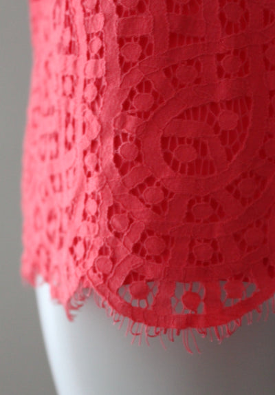 Bright Spring Coral Lace Blouse