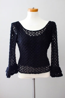 FREE PEOPLE winter black crochet top