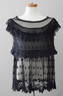 FREE PEOPLE Winter black lace top