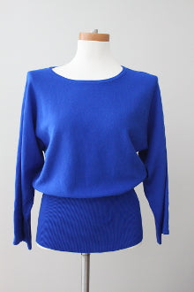 CABLE & GAUGE Bright Winter electric blue sweater