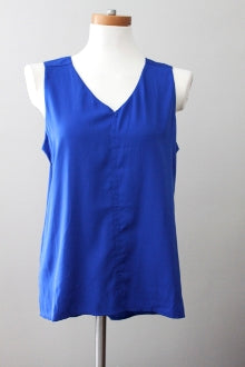 ANTILIA FEMME Bright Winter Vibrant Blue Pleated Back Top