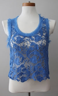 warm spring Rebellious One blue lace sleeveless top