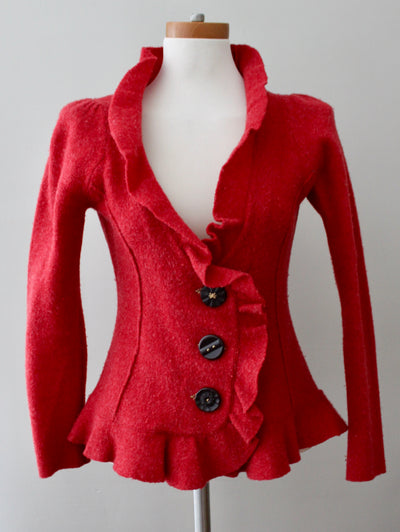 Warm Autumn Red Wool Ruffle Jacket