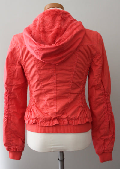Downtown Coalition LA Warm Spring hot coral fur-lined jacket