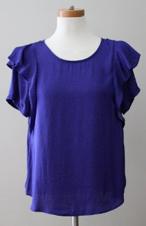 LUSH cool winter cobalt ruffle blouse
