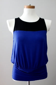 THE LIMITED Bright Winter blue black color block top