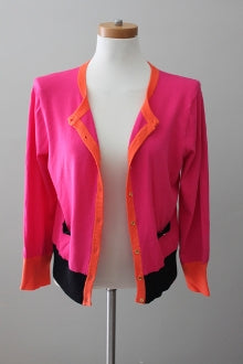 CABLE AND GAUGE Bright Spring contrast knit cardigan