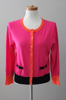 Bright Spring CABLE AND GAUGE pink color block cardigan