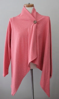BOBEAU Soft Autumn coral apple wrap cardi