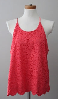 MONTEAU Bright Spring coral lace top