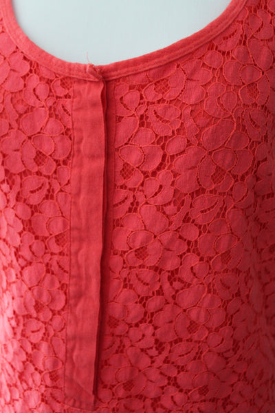 J CREW Bright Spring orange red lace top detail