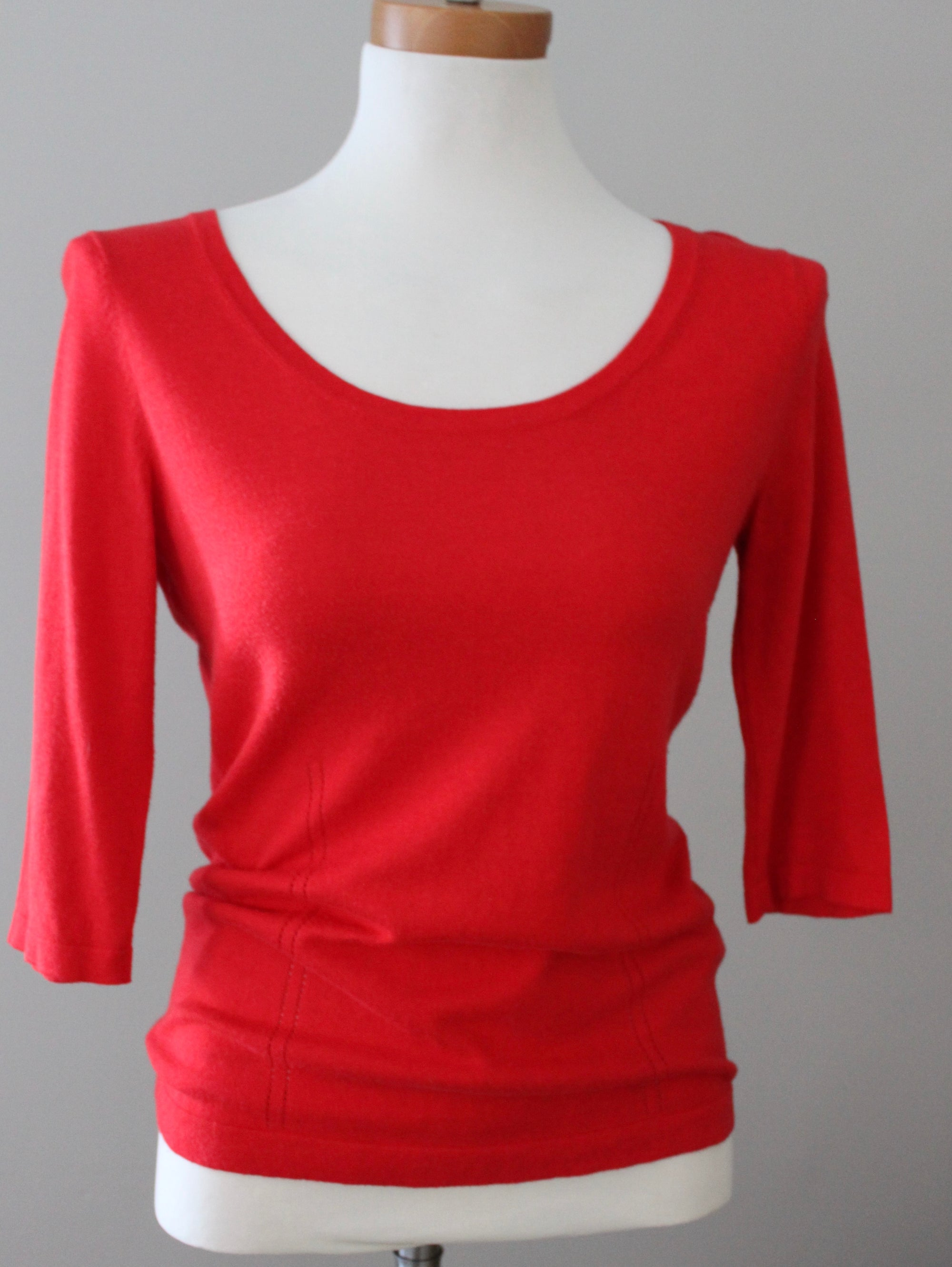 Bright Spring Red Button-back Sweater