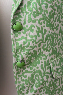 warm spring green damask J CREW blazer