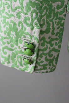 warm spring green damask J CREW blazer detail