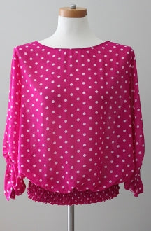 METAPHOR Bright Spring magenta dot smocked top