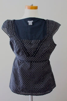 ANN TAYLOR Dark Winter polka dot top