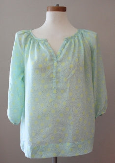 ANN TAYLOR Light Spring pale green dot top