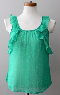 OLD NAVY Bright Spring green polka dot ruffle top