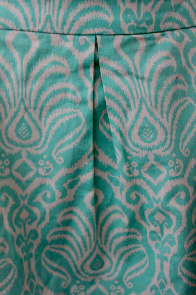 GARNET HILL Light Spring minty green print skirt detail