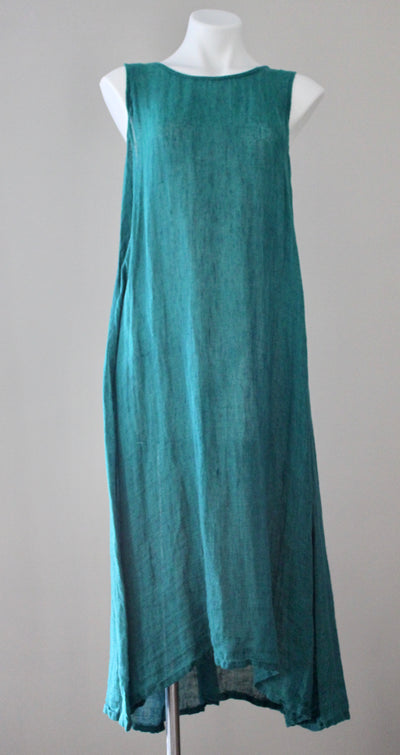 warm autumn FLAX teal green linen button back dress