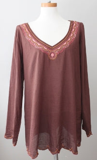 LUCKY BRAND Dark Autumn embroidered tunic