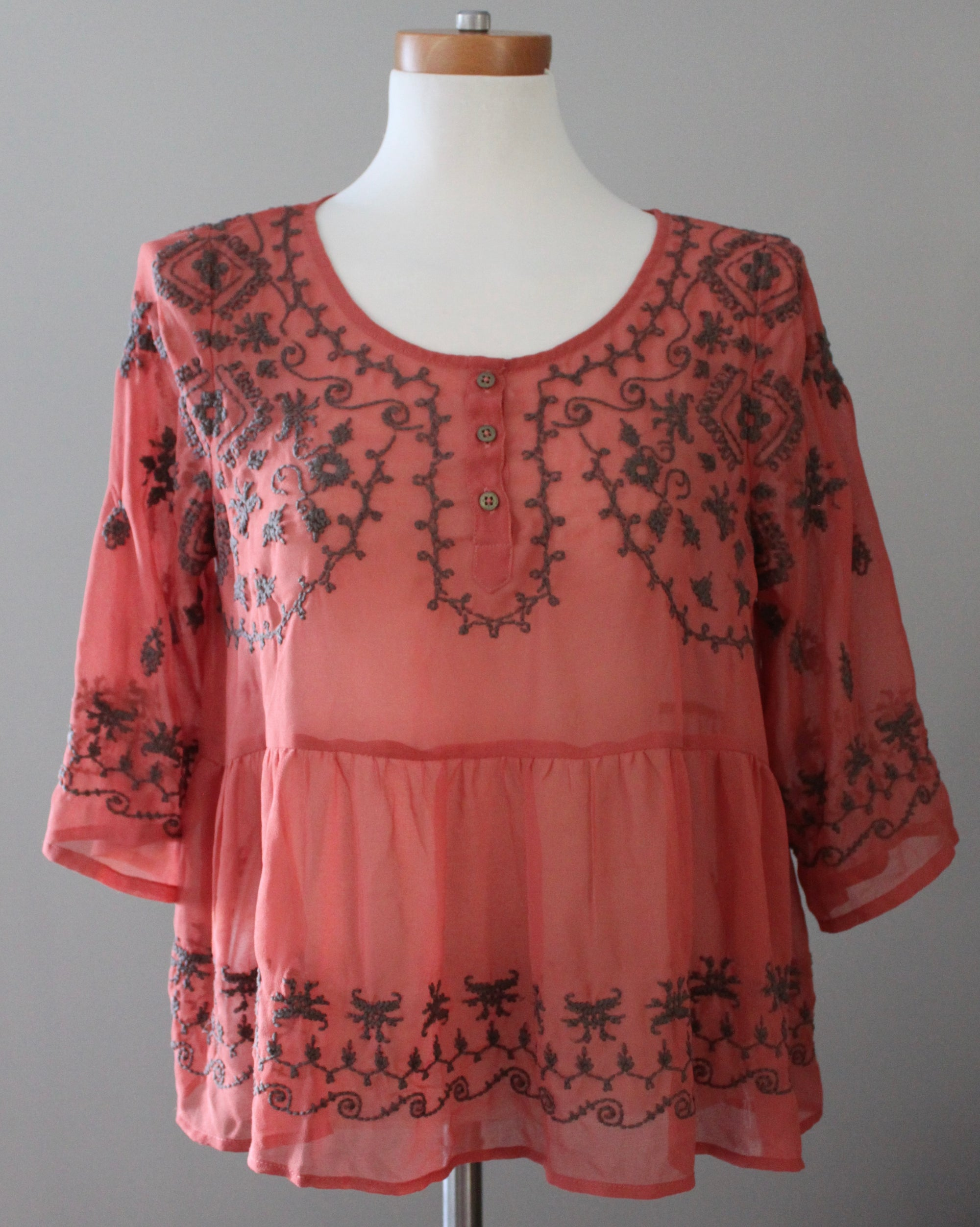 Dark Autumn Embroidered Boho Blouse