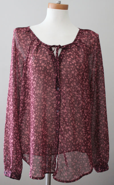 OLD NAVY dark autumn burgundy red semi-sheer floral blouse, top