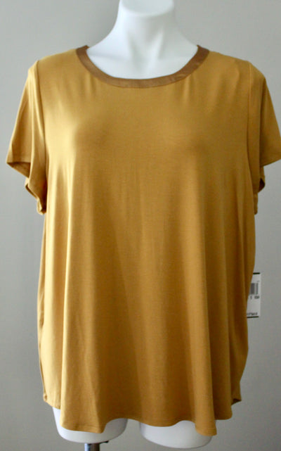 PREMISE STUDIO WOMAN gold scoop neck tee