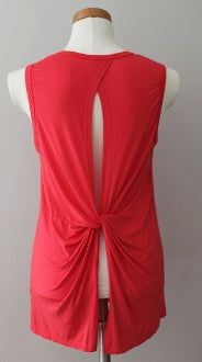 LUSH Brught Spring twist-back coral top