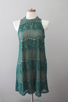 DINA BE for Nordstrom dark autumn green fir halter lace dress