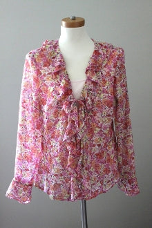 JM COLLECTION Light Spring pink floral ruffled blouse